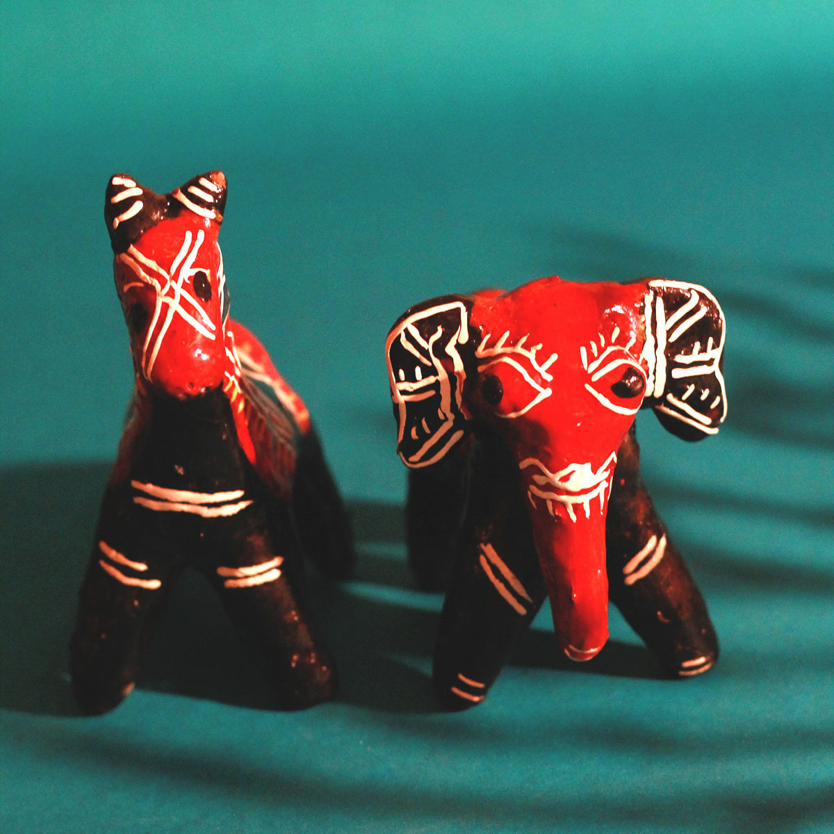 Galar Putul / Shellac Dolls- Elephant and Horse Set