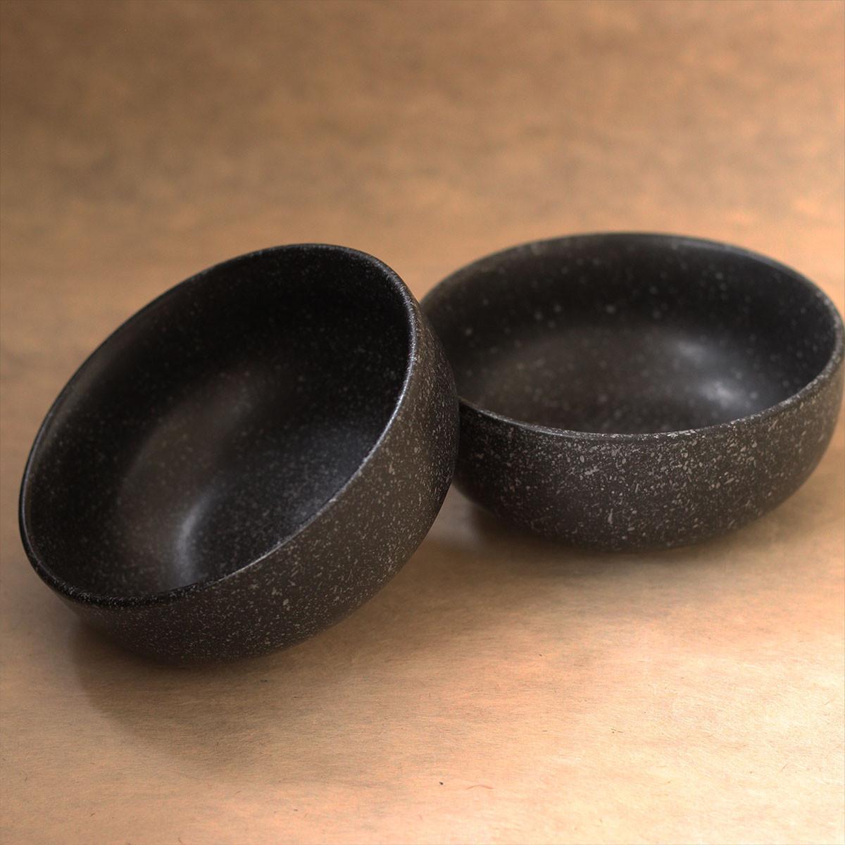 Handcrafted Ceramic Bowl (Black)-Set of 2