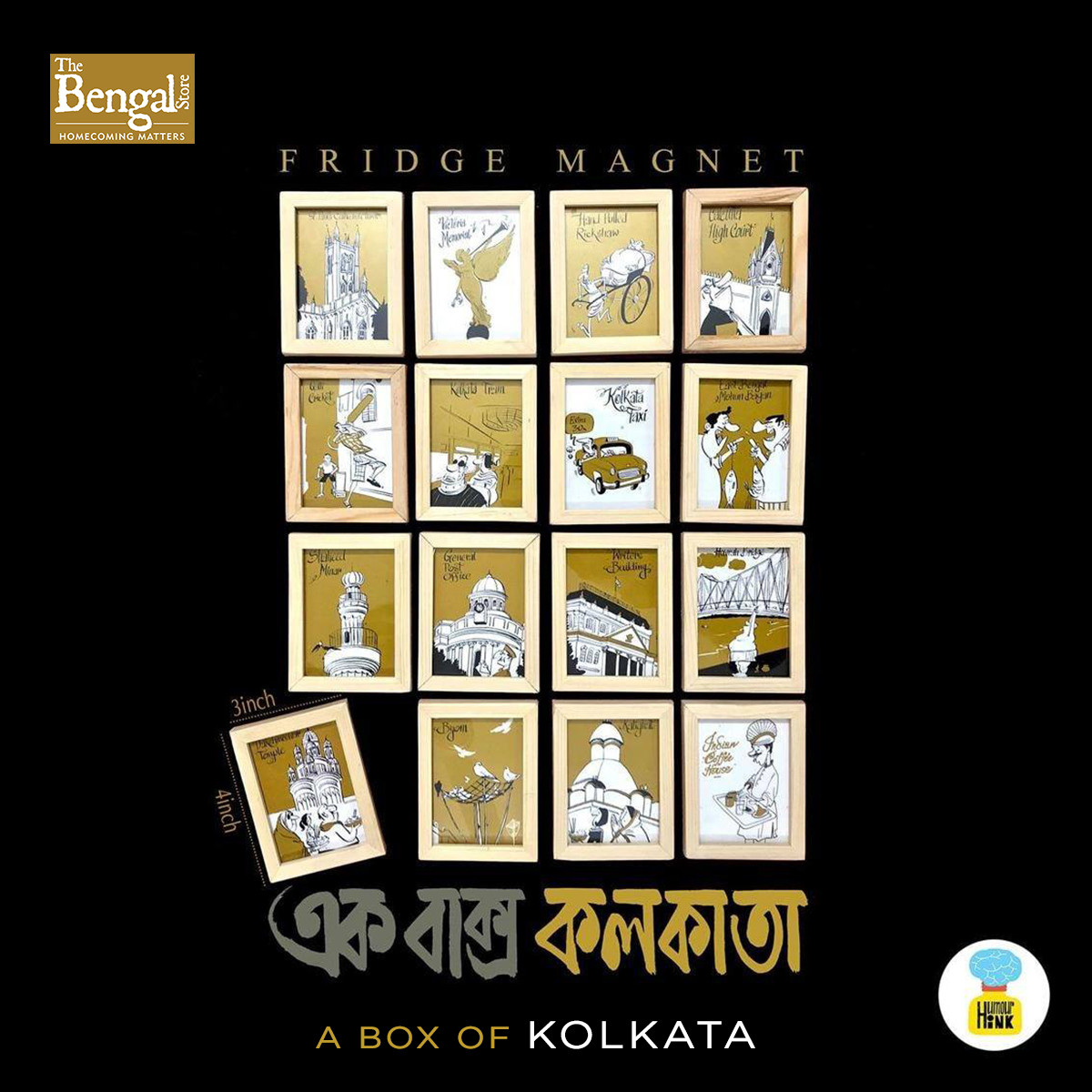 A Box of Kolkata- Set of 16 Fridge Magnets