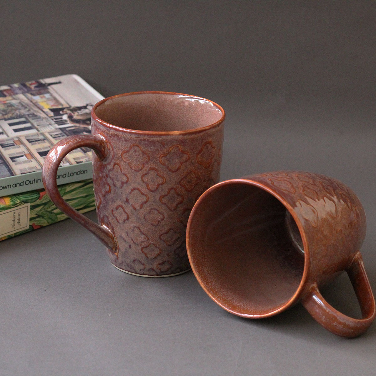 Ceramic Coffee Mugs (Rust) Set of 2