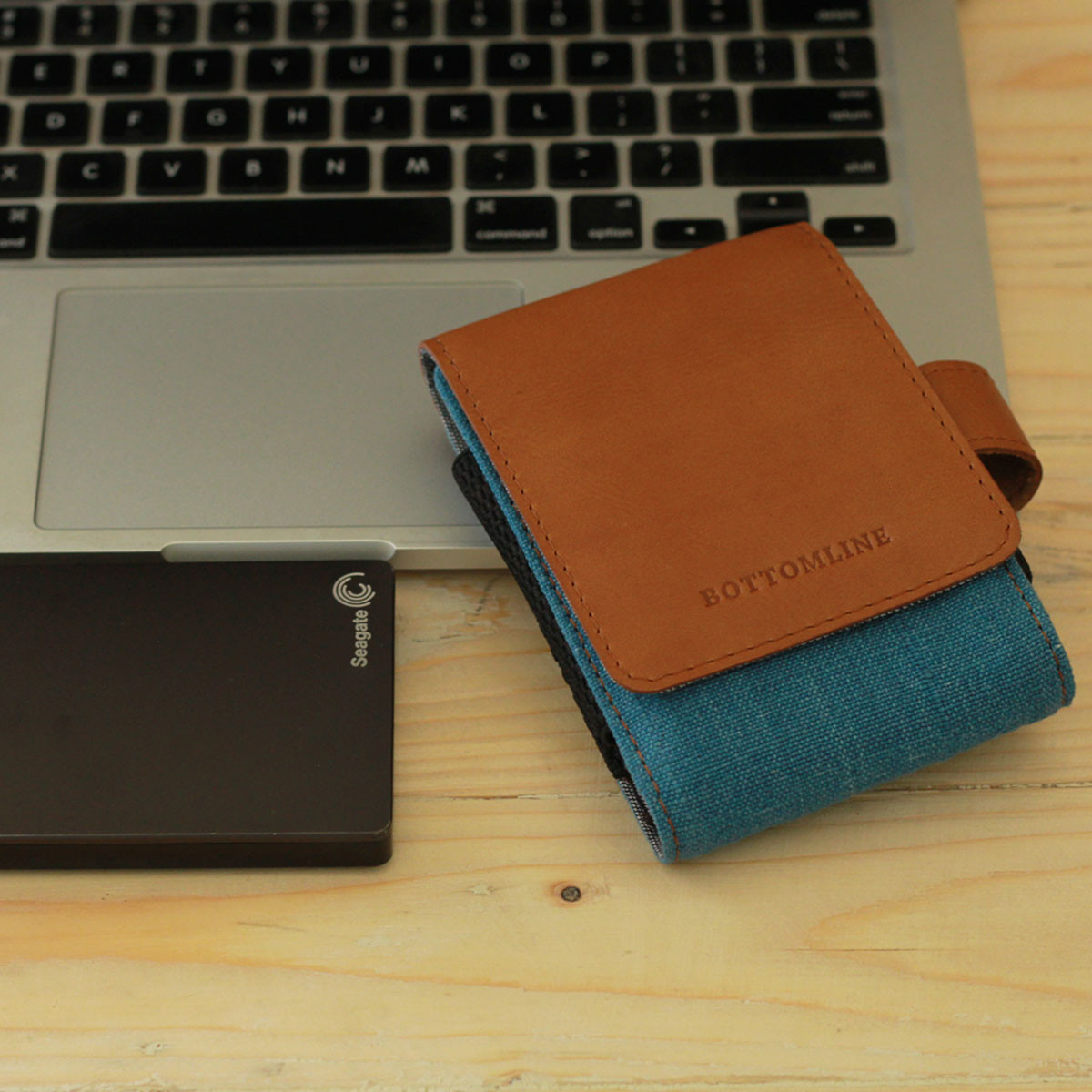 Canvas and Leather Hard disk Case (Blue)