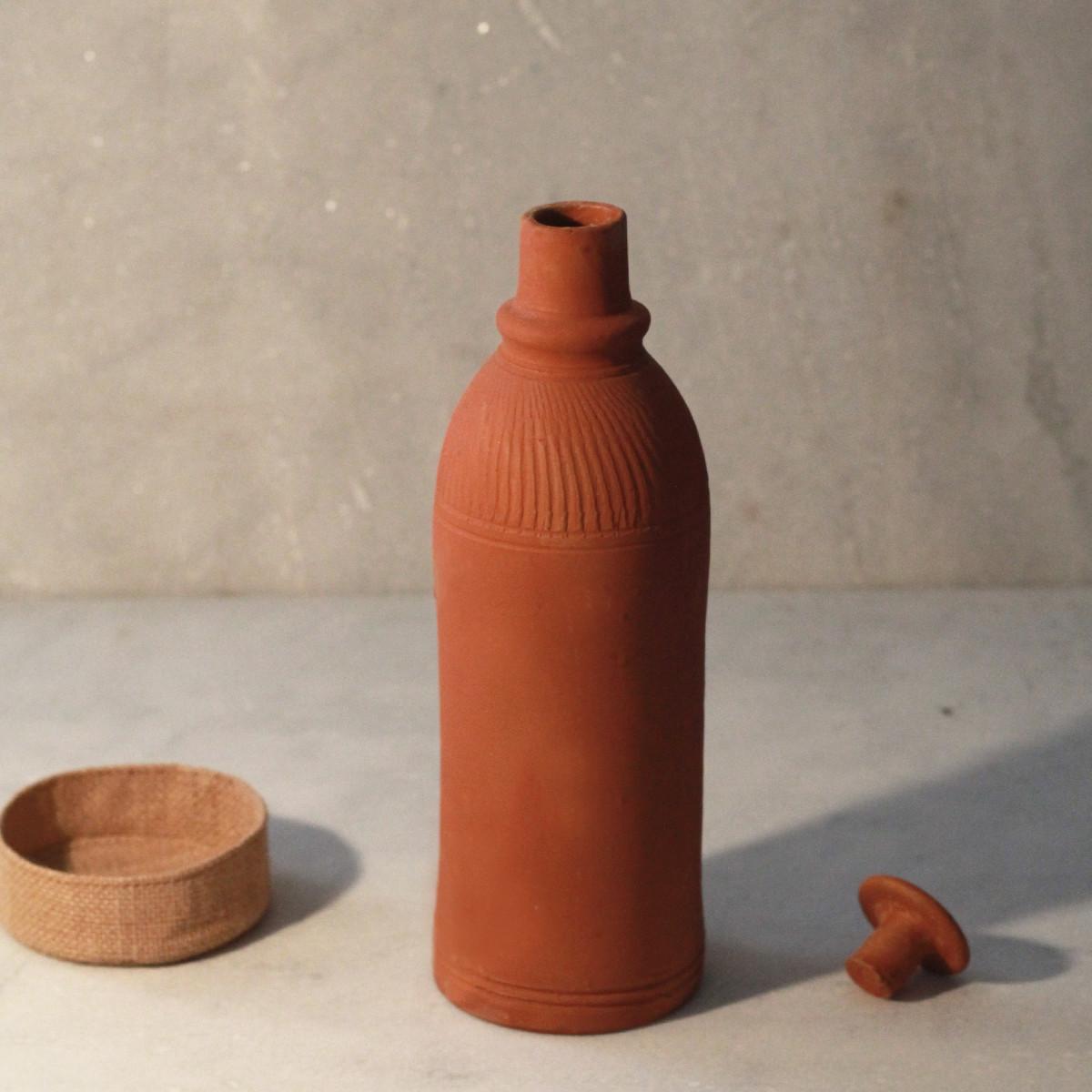 Terracotta Bottle with Jute Base