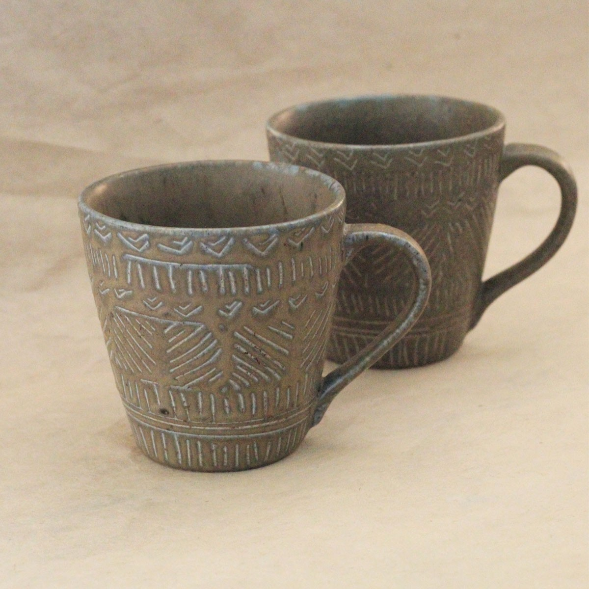 Etched Ceramic Cups (Set of 2)