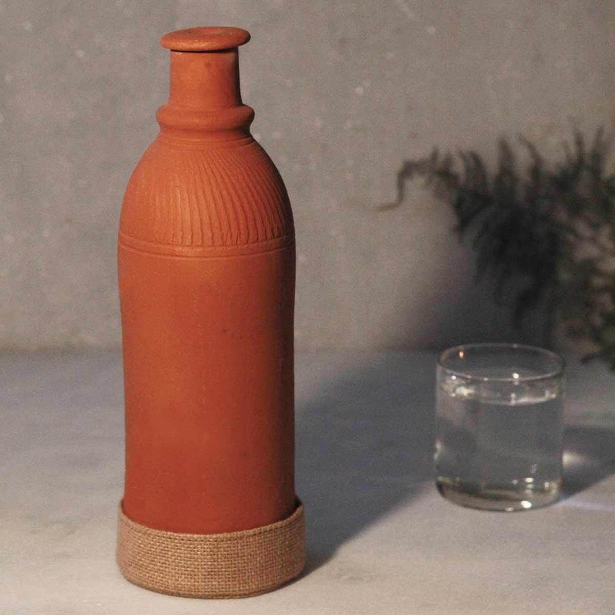 Terracotta Bottle with Jute Base