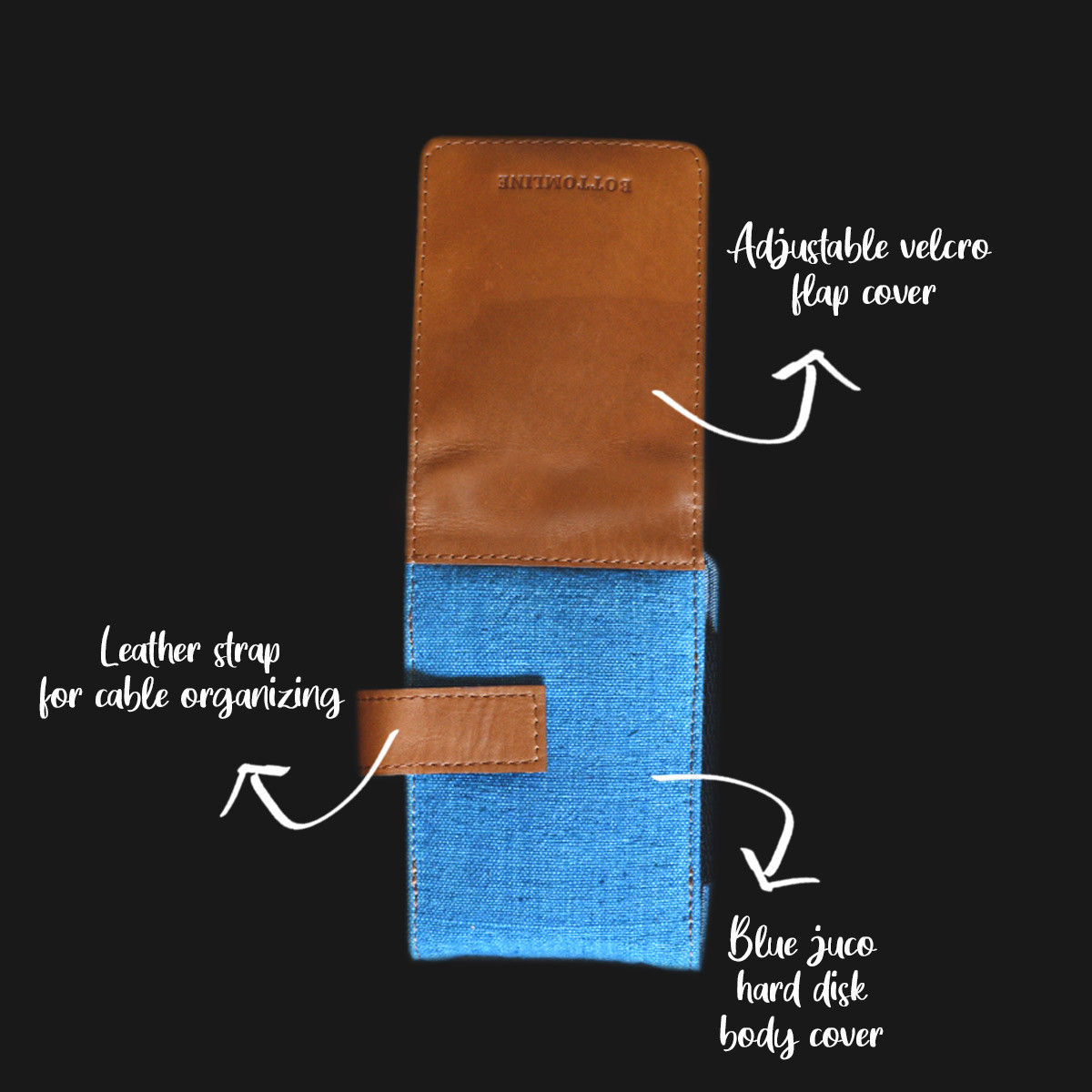 Leather and Juco Hard Disk Cases (Blue)