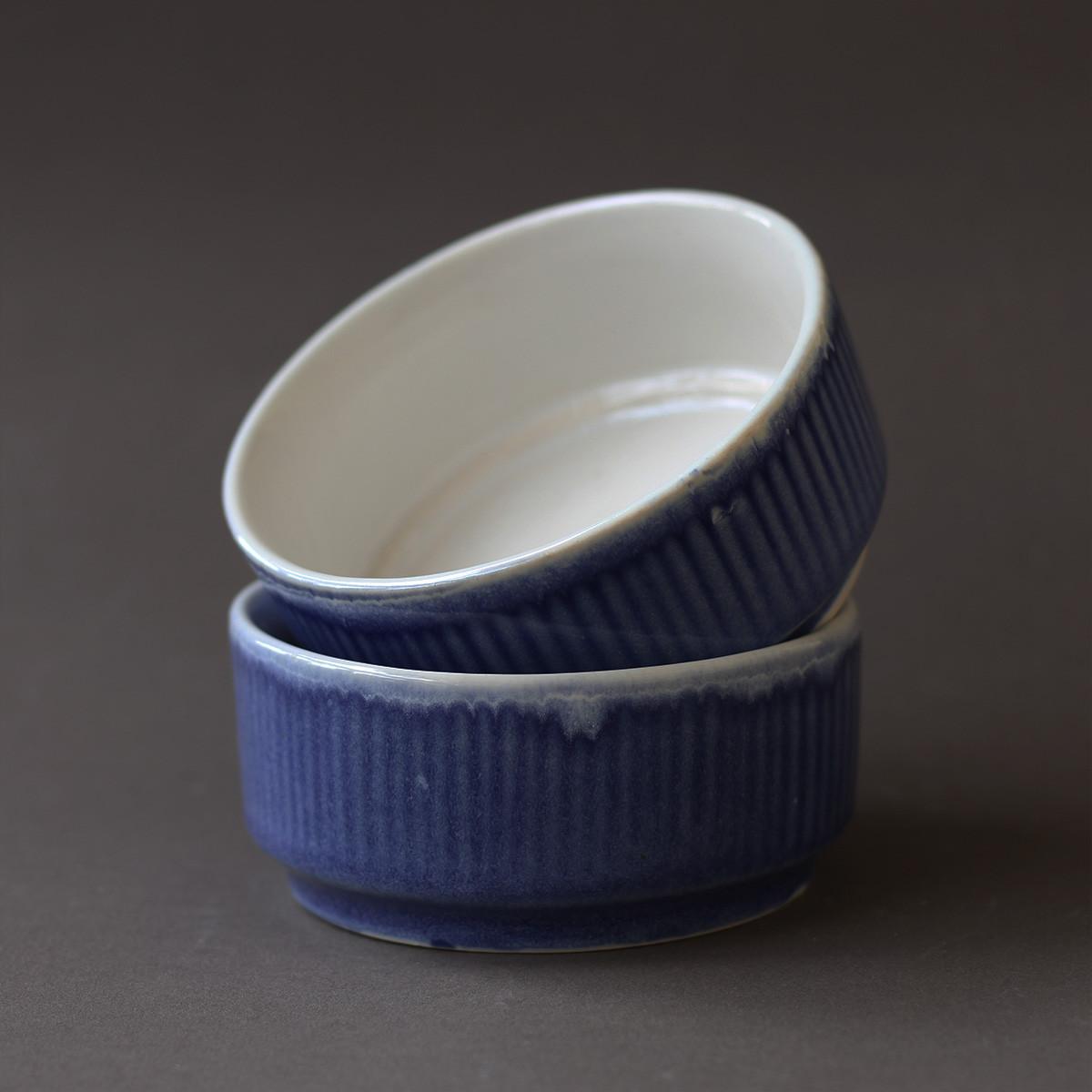 Handcrafted Ceramic Bowl(Blue)- Set of 2
