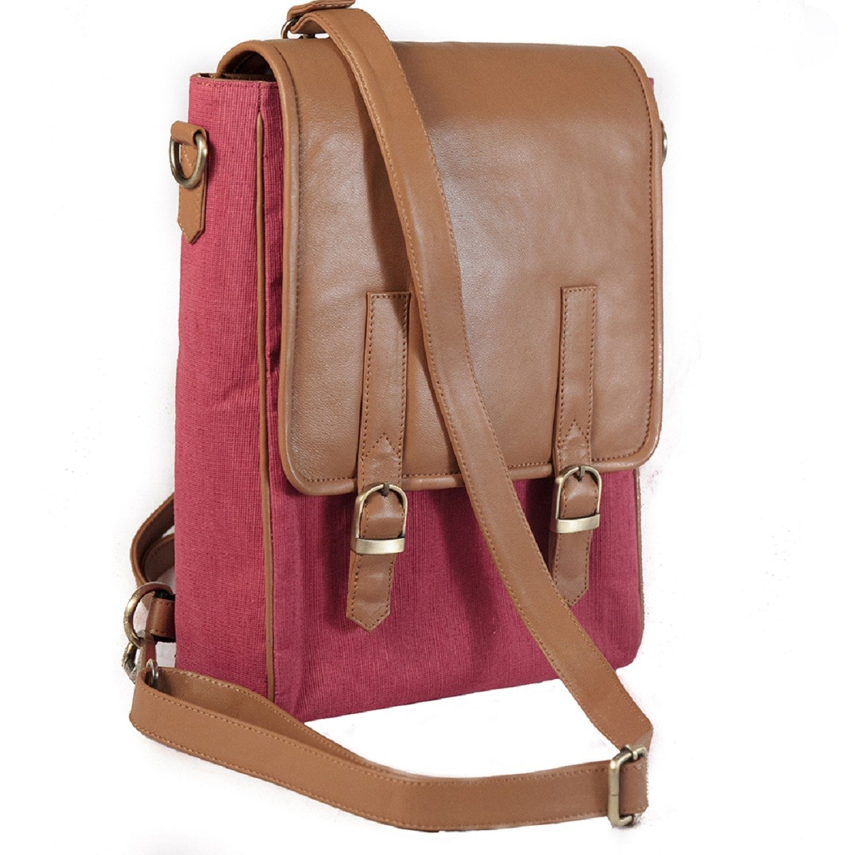Juco and leather backpack